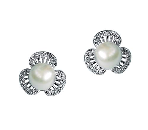 18k Gold Plated 925 Sterling Silver Freshwater Cultured Pearl Stud Earrings for Women and Girls ()