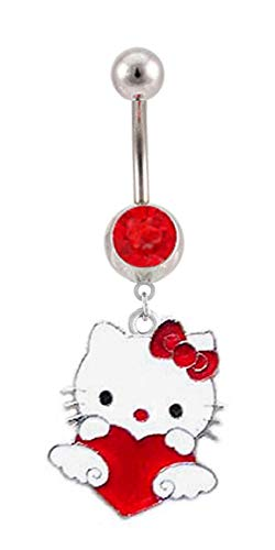 playful piercings Red gem Red Heart Love Hello Kitty Dangle Belly button Navel Ring 14g