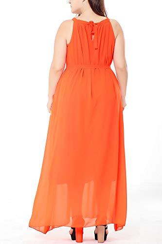 Casual Cintura xya 5xl Senza X Chiffon Womens Maxi black A Plus Sciolto Orange Maniche Elastico Strato In Doppio Vita Collo Size Scoop Dress Con fwdCdRa