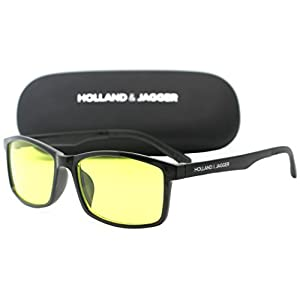 Holland & Jagger Blue Light Blocking Computer Glasses—FDA Approved—Sleep Better, Reduce Eyestrain & Fatigue when Gaming, Tablet/Phone Reading, TV—Anti glare Eyewear Men and Women (PC Black)