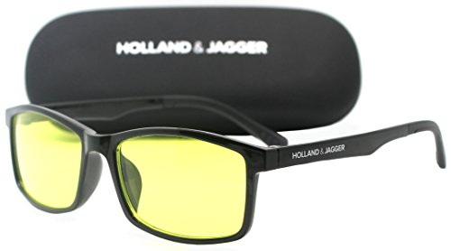 Holland & Jagger Blue Light Blocking Computer Glasses—FDA Approved—Sleep Better, Reduce Eyestrain & Fatigue when Gaming, Tablet/Phone Reading, TV—Anti glare Eyewear Men and Women (PC Black).