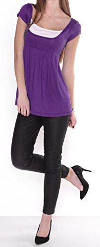 Glamour Empire. Mujer. Camiseta corte imperio manga corta. Cuello redondo. 960 Púrpura