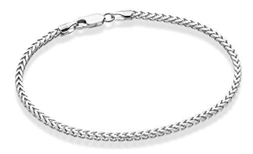 MiaBella Sterling Silver Italian 2.5mm Solid Diamond-Cut Braided Franco Chain Necklace Bracelet for Men Women 925 Italy 7, 8, 16, 18, 20, 22, 24, 26, 30 Inch (8)