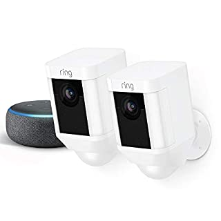 Ring Spotlight Cam Battery 2-Pack (White) with Echo Dot (Charcoal)