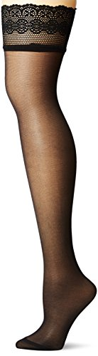 DKNY Women's Sheer Lace Thigh High, Black, S/M