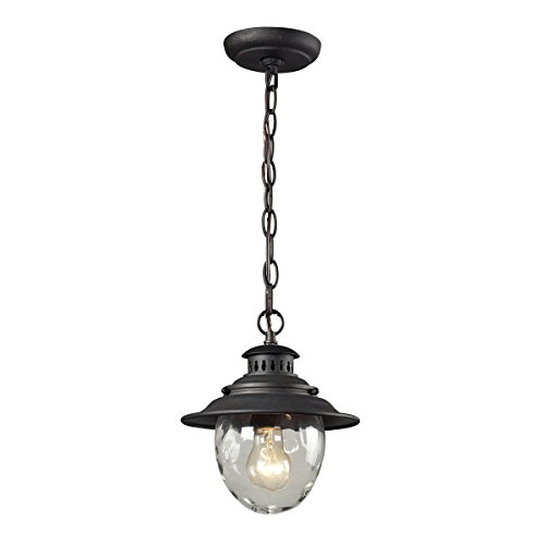- Elk 45041/1 Searsport 1-Light Outdoor Pendant with Water Glass Diffuser, 8 by 10-Inch, Weathered Charcoal Finish