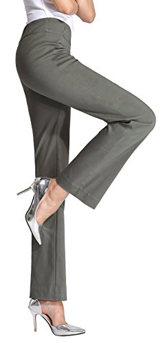 MOVING DEVICE Womens Dress Pant Pull on Stretch Trousers for Work & Casual Wear ()