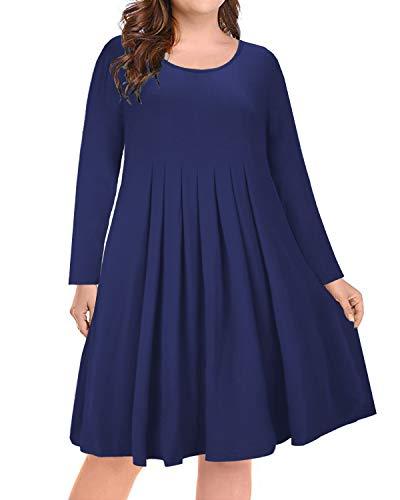 Womens Party Rayon Dress (ULTRANICE Women's Long Sleeve Plus Size Pleated Loose Swing Casual Dress(Navy,XL))