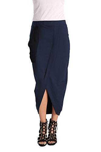 Standards & Practices Women's Denim French Terry Mesh Pocket Tulip Pencil Skirt Size Large -