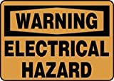 "WARNING ELECTRICAL HAZARD 14"" x 20"" Adhesive Vinyl Sign"