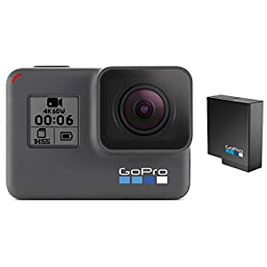 GoPro HERO6 Black + Extra Battery – E-Commerce Packaging – Waterproof Digital Action Camera with Touch Screen 4K HD Video 12MP Photos Live Streaming Stabilization