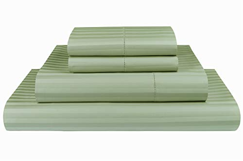 Threadmill Home Linen 600 Thread Count 100% Cotton Sheets, 1CM Damask Stripe Beige, ELS Cotton Bed Sheets, Sateen Fits Mattress Up to 18'' Deep Pocket (King, Damask Sage) (Damask Material)