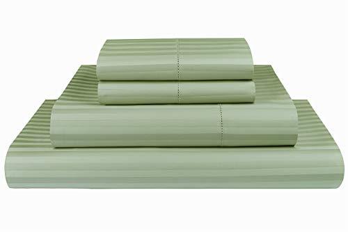 (Threadmill Home Linen 600 Thread Count 100% Cotton Sheets, 1CM Damask Stripe Beige, ELS Cotton Bed Sheets, Sateen Fits Mattress Up to 18'' Deep Pocket (King, Damask Sage))