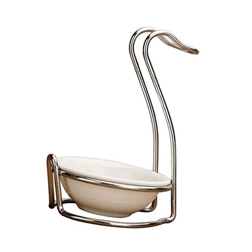 Fityle Modern White Ceramic Kitchen Ladle Spoon Rest Holder with Polished Stainless Steel Rack - Silver, Swan shape