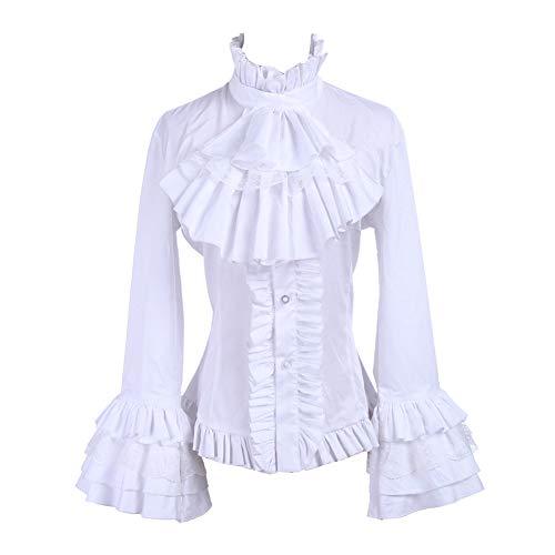 Nuoqi Women Stand-Up Collar Lotus Ruffle Shirt Retro Victorian Lolita Blouse