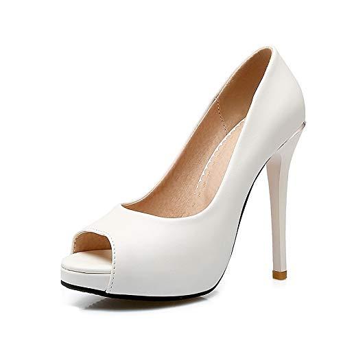 ZHZNVX Zapatos de Mujer PU (Poliuretano) Primavera y Verano Bomba básica Tacones Tacón de Aguja Peep Toe Blanco/Negro / Rosa/Boda / Fiesta y Noche White
