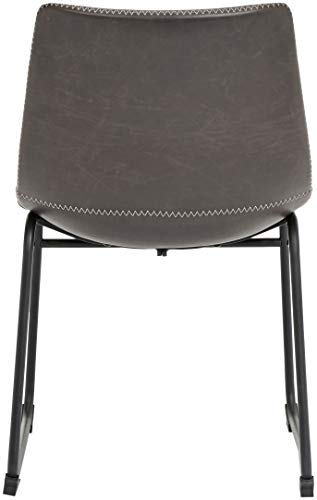 """Phoenix Home PU Leather Dining Chair Set of 2, 18.11"""" Length x 21.65"""" Width x 30.7"""" Height, Gray - Dining chair (set of 2) offers a clean, simple profile and vintage-inspired good looks Ergonomic one-piece molded-plastic bucket seat with rounded back Foam cushioning and PU-leather upholstery for added comfort and strength; zigzag white-thread double stitching along the edge - kitchen-dining-room-furniture, kitchen-dining-room, kitchen-dining-room-chairs - 31h3 Pk I9L -"""