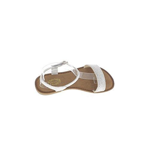 Flache Sandalen grau silber mit breiten vorderen Flansch