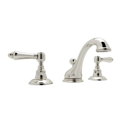 Rohl A1408LMPN-2 C-Spout Widespread Bathroom Sink Faucet with Metal Lever Handles, Polished Nickel C-spout Two Handle