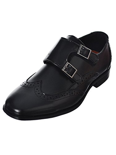 Jodano Collection Boys' Double-Buckle Wingtip Dress Shoes - Black, 3 - Wingtip Double