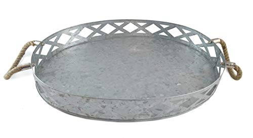 Galvanized Metal Tray Farmhouse Rustic Large Oval Round Outdoor Serving Tray 18x 13.5 x 2.5 Rustic Farmhouse Decor by Well Pack Box ()