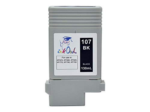 InkOwl - Compatible Ink Cartridge Replacement for CANON PFI-107BK (130ml, black) - imagePROGRAF iPF670, iPF680, iPF685, iPF770, iPF780, iPF785 printers