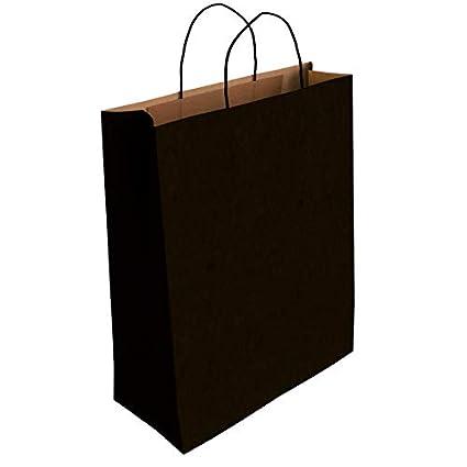 50 x Bolsa de Papel Kraft Negro con Asas Rizadas (37 x 27 x 12 cm)