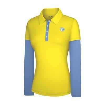 Adidas Taylormade Womens FP Long Sleeve Color Block Polo Shirt (Large (6), Sunburst/Light Blue) by adidas