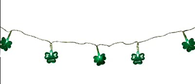 Set of 20 Battery Operated St. Patricks Day Irish Shamrock LED Christmas Lights - Clear Wire
