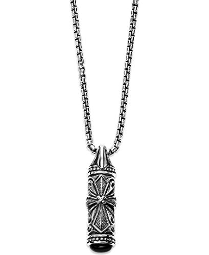 - Scott Kay Sterling Silver Engraved Cross Tablet Necklace with Black Onyx on a 27.5 Inches Endless Easy Wear Chain