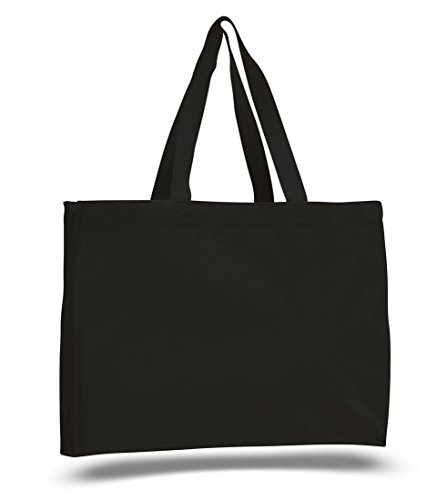 (12 Pack) 1 Dozen- Shopping Tote Bags with Full Side and Bottom Gusset (Black) (Best Affordable Tote Bags)