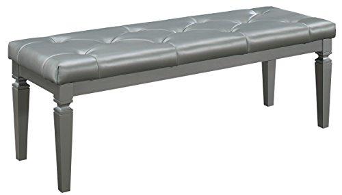 Homelegance Allura Modern Crystal Tufted Footboard Bench, Silver Bi-Cast Vinyl