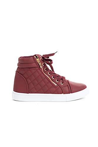 Soho Shoes Women's Leatherette Quilted Zipper Lace Up High Top - Sneakers Soho Lace