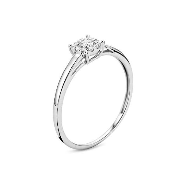Miore - Anello di fidanzamento da donna in oro bianco 375 a 9kt e diamanti brillanti da 0,10 kt 2 spesavip
