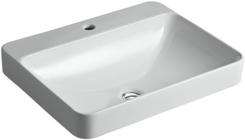 KOHLER K-2660-1-95 Vox Rectangle Vessel Above-Counter Bathroom Sink with Single Faucet Hole, Ice Grey 95 Ice Grey Vessels
