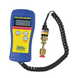 Yellow Jacket Hand-Held Vacuum Gauge, Deluxe, 32 to 122 deg F Ambient, 1/4 in Male Flare Connection, LED Display, Battery, Plastic ()