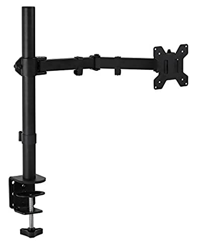 Mount-It! Monitor Arm Single LCD Monitor Desk Mount Stand Fully Adjustable Fits 20 21 23 24 27 30 32 Screens Height Adjustable Tilt Swivel Rotate, Clamp and Grommet (Monitor Mount Sit Stand)
