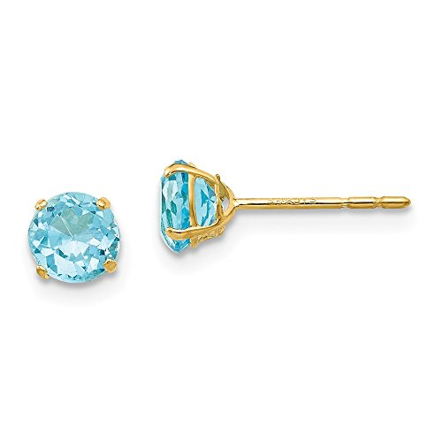 14k Yellow Gold Round Blue Topaz 5mm Post Stud Earrings Gemstone Fine Jewelry Gifts For Women For Her -