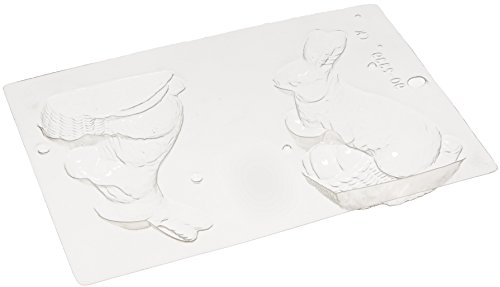 Paderno World Cuisine Single Imprint Polypropylene 5.875 Inch Bunny With Egg Chocolate Mold (Front and Back) ()