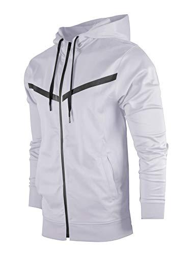 Mens Apparel Young (SCREENSHOTBRAND-F11850 Mens Urban Hip Hop Premium Tech Fleece Jacket - Slim Fit Spandex Hooded Fashion Top-White-Medium)
