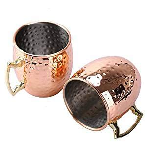 Uarter Solid Moscow Mule Copper Mug Set, Premium Copper Moscow Mule Cups Pure Copper Mule Cups with Stainless Steel Lining, Suitable for Hot and Cold Beverages, Set of 2 by Uarter