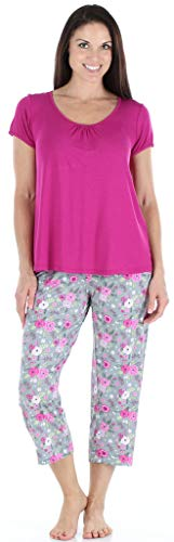 bSoft Women's Sleepwear Bamboo Jersey Short Sleeve Top and Capri Pajama Set, Rasberry Blossom - Purple Top (BSBJ1830-1202S-MED)