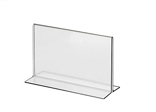 "Marketing Holders Clear Acrylic 5""W x 3""H Bottom Loading, Double-sided Table Sign Holder for Restaurants, Retail Stores and Offices (50, 5 x 3) by Marketing Holders"
