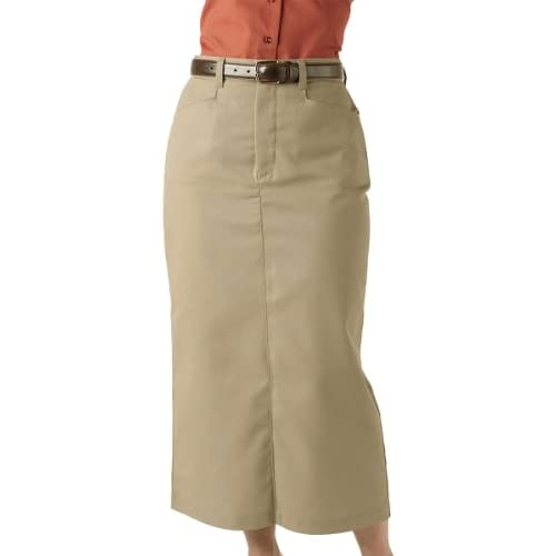 Cheap Edwards Garment Women's Chino Long Length Wrinkle Resistant Skirt, TAN, 18 for sale