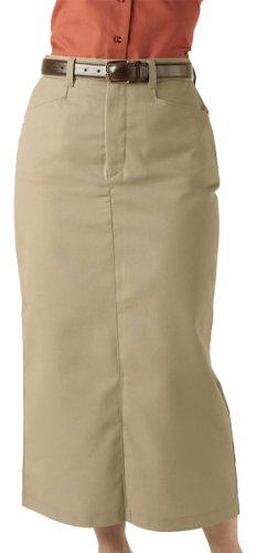 Edwards Garment Women's Chino Long Length Wrinkle Resistant Skirt, TAN, 14