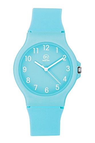 RW Unisex Wristwatch Fashion Casual Quartz Analog Wrist Watch with Silicone Strap for Men Male Women Ladies Female TB-5017 (Cyan)