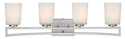 Canarm IVL471A04BN Ltd Alexa 4 Light Vanity, Brushed Nickel with Flat Opal Glass by Canarm