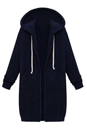 Bleu Pocket BLACKMYTH Outwear Veste Capuche Marin Casual Femme Pull Longue Manteau Fermeture Avec over Cw7qCf