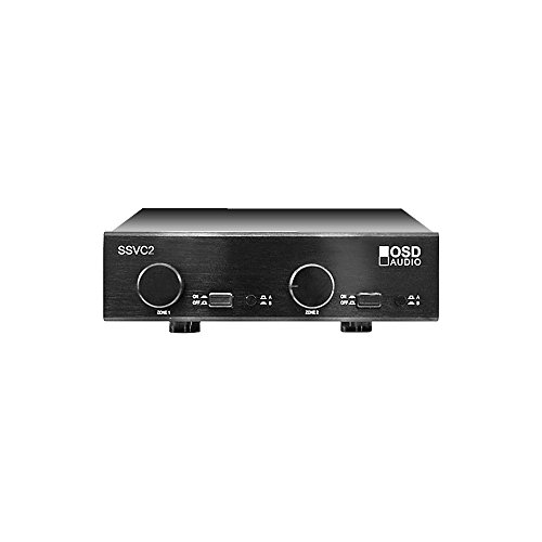 SSVC2 Dual Source 2-Zone Master A/B Switch 300W Speaker Selector with Volume Control - Black Brushed Aluminum Finish - OSD Audio