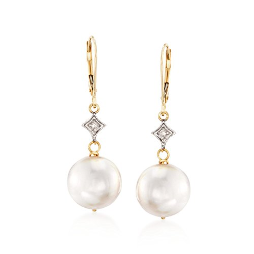 (Ross-Simons 10.5-11mm Cultured Pearl Drop Earrings With Diamond Accents in 14kt Yellow Gold )